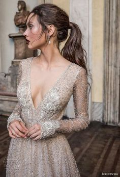 birenzweig 2018 bridal long sleeves deep v neck full embellishment sexy glamorous a line wedding dress open v back chapel train (5) zv -- Birenzweig 2018 Wedding Dresses