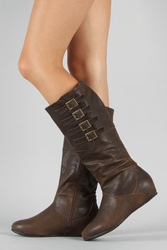 Diva Lounge Candies-81 Buckle Riding Knee High Wedge Boot $30.50