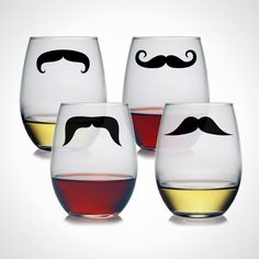 Stay classy with these mustache stemless wine glasses.
