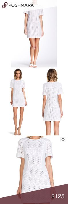 """Trina Turk White 'Marquise' Eyelet Sheath Dress Excellent condition (white, may need a wash from storage). Cotton with poly lining. Lined. Contrast color underlay. Hidden back zip closure. Bust 20"""" across. Waist 18.25"""" across. Hips 20.5-21"""" across. Length 34.5"""". According to the size chart a 10 is a Large. Offers welcome through offer tab. No trades. 10525171161 Trina Turk Dresses"""