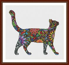 Colorful Abstract Cat Cross Stitch Pattern PDF Instant Download
