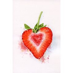 Heart Shaped Strawberry ORIGINAL Miniature Painting (Food... ❤ liked on Polyvore featuring home, home decor, wall art, watercolor wall art, watercolour painting, mini painting, heart home decor and heart illustration