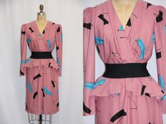 Plus Size Vintage Dress  1980s Abstract Print by SIZEisJUSTaNUMBER