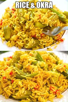 This Easy Rice and Okra dish is so flavorful and delicious. Once you've tasted it, you'll never look at okra Indian Food Recipes, Vegetarian Recipes, Cooking Recipes, Healthy Recipes, Vegan Vegetarian, Easy Cooking, Easy Recipes, Vegetarian Sweets, Beginner Cooking
