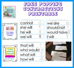 """Free Fun With Contractions Printable, try adding a paperclip where the contraction would be on a folded piece of paper, and """"pop"""" the word open into two words, YouTube minute video demo"""