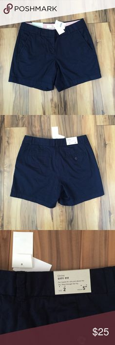 """☀️️SALE☀️NWT J. Crew Chino City Fit Shorts NWT navy J. Crew Chino City Fit Shorts. Size 2. These have a 5"""" inseam. Front slanted pockets. J. Crew Shorts"""