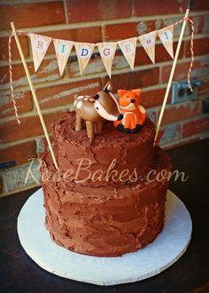 Woodland Animals Camping Birthday Cake