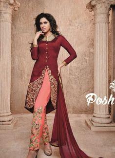 Maroon designer Indian Punjabi wedding suit in bhagalpuri silk