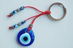 Evil Eye Handmade Glass Bead Key Chain by TheGrandBazaar on Etsy, $5.00 Diy Jewelry, Unique Jewelry, Hamsa, Evil Eye, Key Chain, Glass Beads, Goodies, Jewels, Handmade Gifts