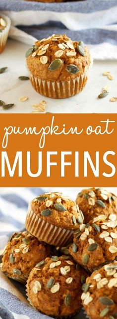 These Healthy Pumpkin Oat Muffins are low in fat and sugar, but they're so moist and flavorful because they're packed with pumpkin and applesauce! Healthy Muffin Recipes, Healthy Muffins, Healthy Snacks, Healthy Eats, Healthier Desserts, Vegan Desserts, Diabetic Recipes, Keto Recipes, Pumpkin Oatmeal Muffins