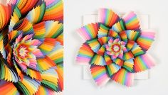 Miami-based artist Jen Stark created these vibrantly colored three-dimensional pieces by using hand-cut, acid-free fluorescent paper. Jen Stark, Religion For Atheists, Toronto Art Gallery, Paper Art, Paper Crafts, Double Exposure Photography, Textiles, Art Lessons Elementary, Art World