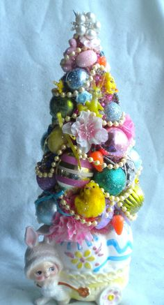 """Easter Decoration Vintage Relpo Planter Pink Bottle brush Tree Rhinestone & Pearl Jewelry  Vintage Ornaments; 14"""" Tall"""