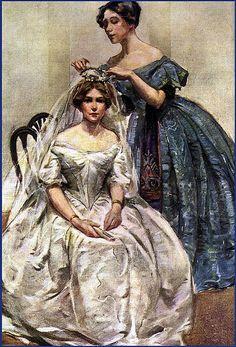 Pinning The Veil ~ Edwardian Bride Vintage Wedding Photos, Vintage Bridal, Vintage Images, Vintage Art, Vintage Ladies, Vintage Weddings, Romantic Weddings, Victorian Bride, Victorian Art