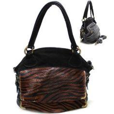 Leopard Print Genuine Leather Purse and Bag / Handbag/ Black/ Rchla45130blk,$39.99
