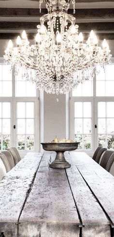 Love the contrast - rustic and crystal