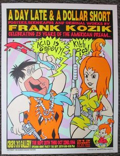 Rare Flintstones Acid is Groovy! Silkscreen Poster Signed & Numbered Frank Kozik #UrbanArt