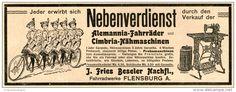 Original-Werbung/ Anzeige 1902 - ALEMANNIA FAHRRÄDER/ CIMBRIA NÄHMASCHINEN/FRIES BESELER - FLENSBURG ca. 180 x 60 mm