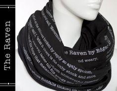 The Raven poem on the scarf - Edgar Allan Poe