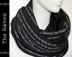 The Raven poem on the scarf - Edgar Allan Poe