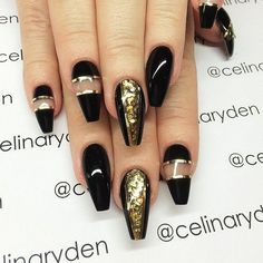 awesome gold and black nails with negative space