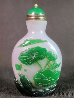 Chinese Bird Lily Carved Peking Overlay Glass Snuff Bottle