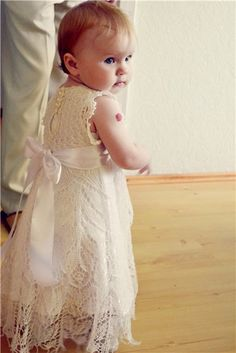 Christening dress for baby girl or a really cute flower girl dress with cowboy boots.