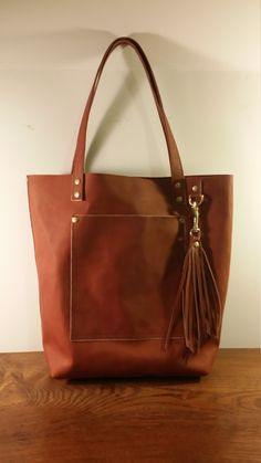 Horween Chromexcel Cinnamon Brown Matte Large Full Grain Leather Tote Bag Purse Satchel Handmade in USA by jewelrypieces on Etsy