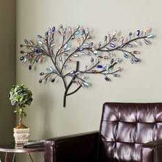 Willow Multicolor Metal Glass Tree Wall Sculpture Hanging Art Decor #Willow