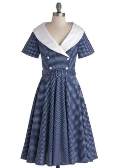 Vintage Dancer Dress. When you're ready to flaunt your spiffiest duds, you choose a mid-century sensation like this cotton dress! #blue #modcloth