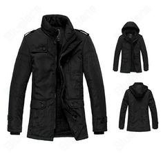 Discount China china wholesale Winter Warm Men's Casual Stylish Slim Fit Zip Pockets Jacket Coats Outwear Black [31401] - US$47.49 : DealsChic