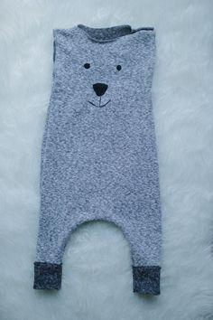 Polar bear face romper Harem Romper Baby Romper by AnchoreDeep