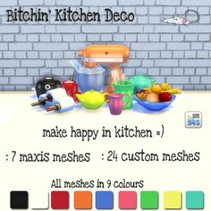 The Sims 4 | loveratsims Kitchen Deco buy mode new objects deco clutter + base game recolor
