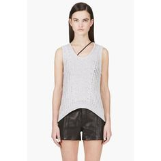 $195, Grey Knit Tank: Helmut Lang Grey Open Knit Tank Top. Sold by SSENSE. Click for more info: https://lookastic.com/women/shop_items/74806/redirect