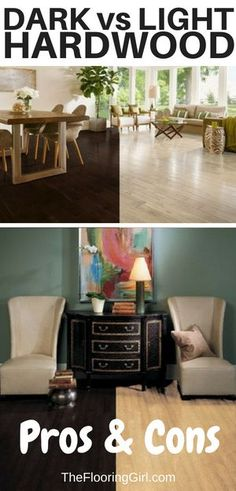 Dark vs light hardwood floors - pros and cons.  Check out side by side room images to see which your prefer for your flooring.  #dark #hardwood #floors #darkhardwood #lighthardwood #hardwoodflooring