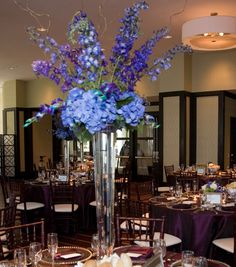 tall centerpiece of hydrangea & delphinium
