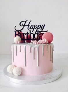 New Ideas For Birthday Cake Ideas Sweet 16 - Christmas-Desserts Happy Birthday Torte, 25th Birthday Cakes, Sweet 16 Birthday Cake, Simple Birthday Cakes, Men Birthday, 18th Cake, Sweet 16 Cakes, Drip Cakes, Savoury Cake