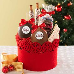 Custom Winter Wonderland. With your logo! $40 Gourmet Caramel Apples, Chocolate Covered Apples, Peppermint Bark, The Night Before Christmas, Granny Smith, Christmas Treats, Merry Christmas, Chocolate Gifts, Winter Wonderland