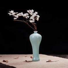 景德镇陶瓷花插 瓷器小花瓶 青釉手绘花器 家居饰品 茶道摆件