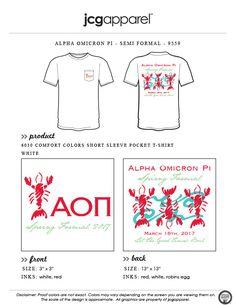 JCG Apparel : Custom Printed Apparel : Alpha Omicron Pi Spring Formal T-Shirt #alphaomicronpi #aopi #springformal #semiformal #crawfish #crawfishboil #mudbugs