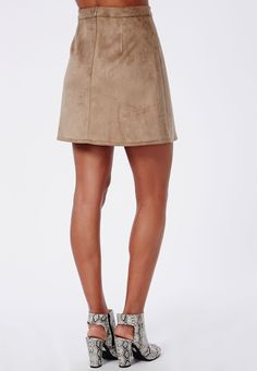 Missguided - Faux Suede A Line Skirt Taupe