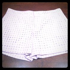 "NWOT club monaco lilac shorts NEW! Gorgeous ""in"" lilac color eyelet shorts. Poshed to me as NWT but arrived without tags. Not worn by me. Gorgeous and would keep them but was overly hopeful about my weight loss and wasn't quite the right size yet. True 6. Would love to find these beauties a new home for someone who can actually use them! Club Monaco Shorts"