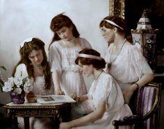 Colored OTMA picture, 1914. Left to right: Maria, Anastasia, Tatiana (sitting), and Olga Romanov.