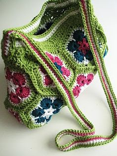 Crochet African Flower bag purse