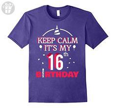 Mens Keep Calm It's My 16th Birthday - Birthday Shirt Gifts Large Purple - Birthday shirts (*Amazon Partner-Link)