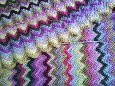 Purple crochet ripple blanket