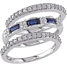 1/2 Carat T.W. Diamond and 1/2 Carat T.G.W. Blue Sapphire 10kt White Gold Semi-Eternity Anniversary 3-Piece Ring Set, Women's, Size: 5.5