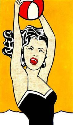 ROY LICHTENSTEIN -  Girl with Ball 1961