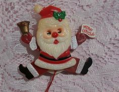 Vintage Pull String Santa Brooch Pin, Merry Christmas Hard Plastic