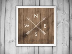 COMPASS DIRECTIONS Art Print - North South East West - Compass and Arrows - Home Decor Wall Art - Wood Wooden Square Print - Compass Poster
