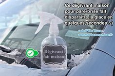 Car De-Icer -- fill a spray bottle about w/ water. Now, you'll fill the rest of the bottle w/ Isopropyl Alcohol. Shake it up! To use, spray on windshield; wait a couple of seconds til ice starts to melt; Diy Cleaners, Cleaners Homemade, Car Cleaning, Cleaning Hacks, Cleaning Recipes, Cleaning Supplies, Bathroom Cleaning, Rubbing Alcohol Uses, Car Hacks